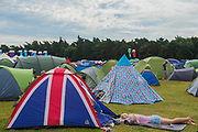 The morning after the night before and a patriotic tent - The 2017 Latitude Festival, Henham Park. Suffolk 15 July 2017