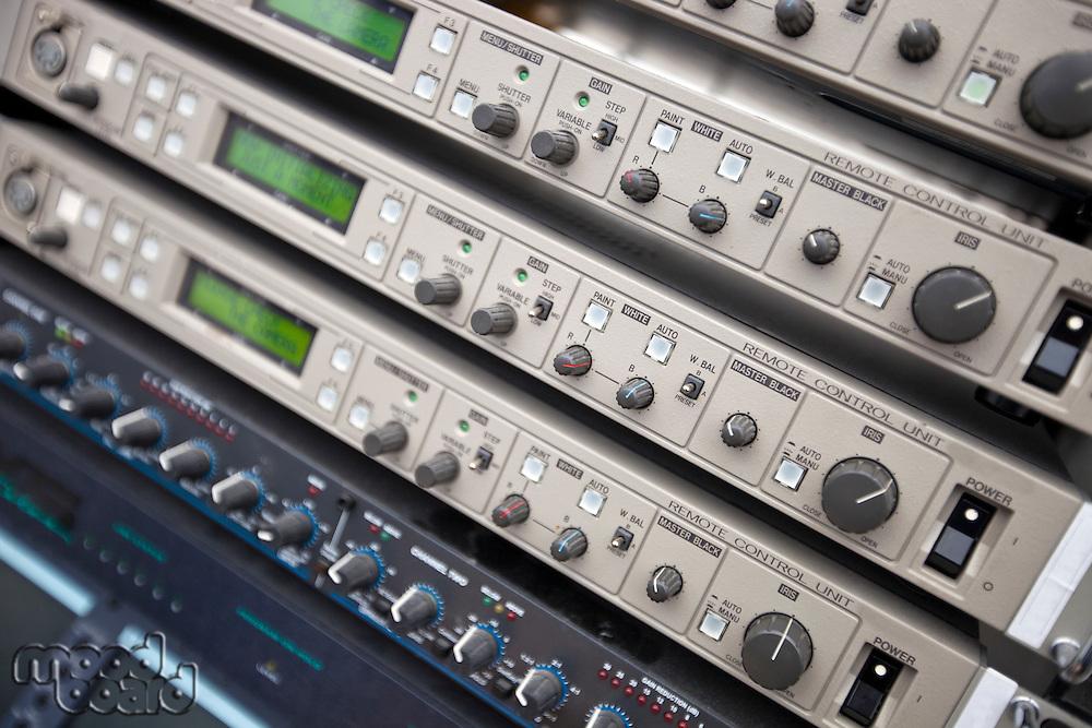 Close-up of audio recording equipment in control room