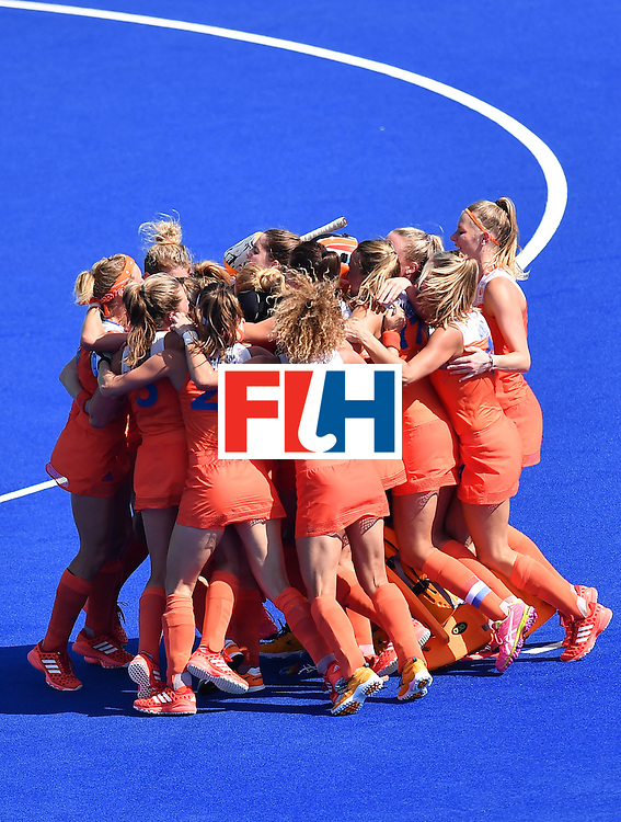 Netherlands' players celebrate after the penalty shoot-out at the end of the the women's semifinal field hockey Netherlands vs Germany match of the Rio 2016 Olympics Games at the Olympic Hockey Centre in Rio de Janeiro on August 17, 2016. / AFP / MANAN VATSYAYANA        (Photo credit should read MANAN VATSYAYANA/AFP/Getty Images)