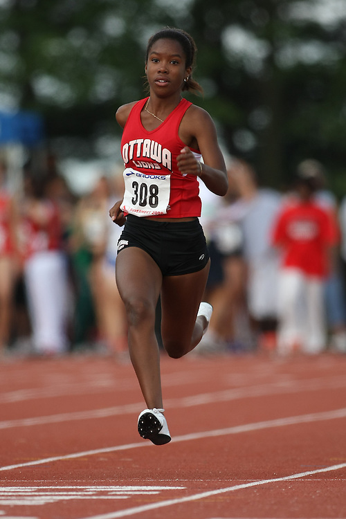 (Toronto, Ontario---2 August 2008)  Courtney Bowen competing in the 100m heats at the 2008 OTFA Supermeet II, the Bantam, Midget, Youth Track and Field Championships. This image is copyright Sean W. Burges, and the photographer can be contacted at www.msievents.com.