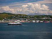The Mull ferry enters Oban bay with Ben Cruachan in view, Oban, Argyll