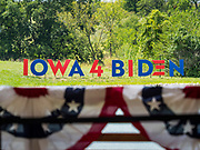 """20 AUGUST 2019 - PROLE, IOWA: An """"Iowa 4 Biden"""" display in Prole. Vice President Biden is campaigning in Iowa to be the Democratic nominee for the US Presidency. He spoke to about 200 people in Prole Tuesday afternoon. Iowa traditionally hosts the first event of the presidential election cycle. The Iowa caucuses are Feb. 3, 2020.          PHOTO BY JACK KURTZ"""