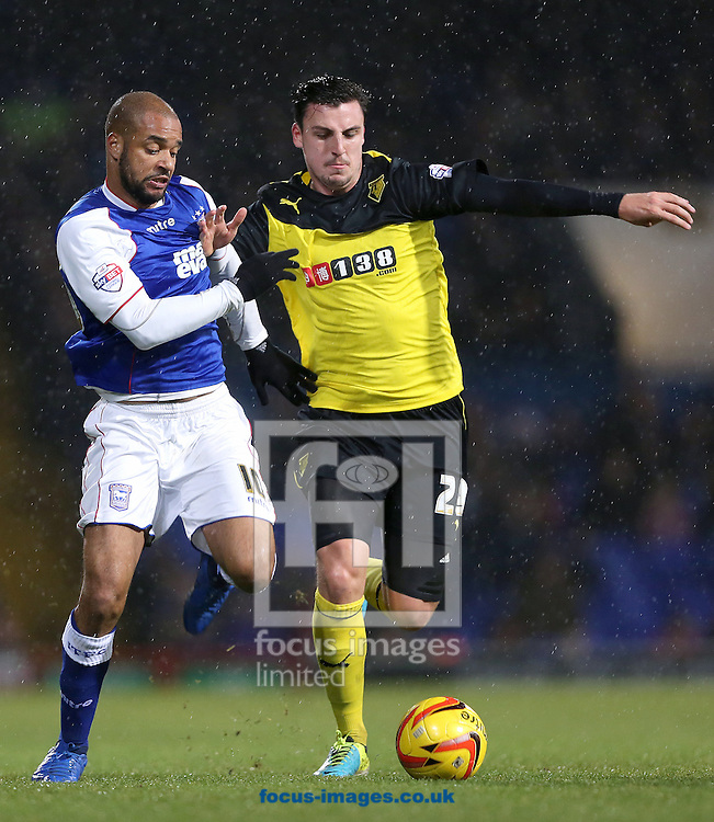 Picture by Richard Calver/Focus Images Ltd +447792 981244<br /> 21/12/2013<br /> David McGoldrick of Ipswich Town and George Thorne of Watford during the Sky Bet Championship match at Portman Road, Ipswich.
