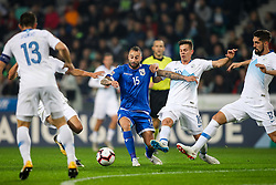 Fotis Papoulis of Cyprus vs Miha Zajc of Slovenia and Margaca of Cyprus during football match between National Teams of Slovenia and Cyprus in Final Tournament of UEFA Nations League 2019, on October 16, 2018 in SRC Stozice, Ljubljana, Slovenia. Photo by  Morgan Kristan / Sportida