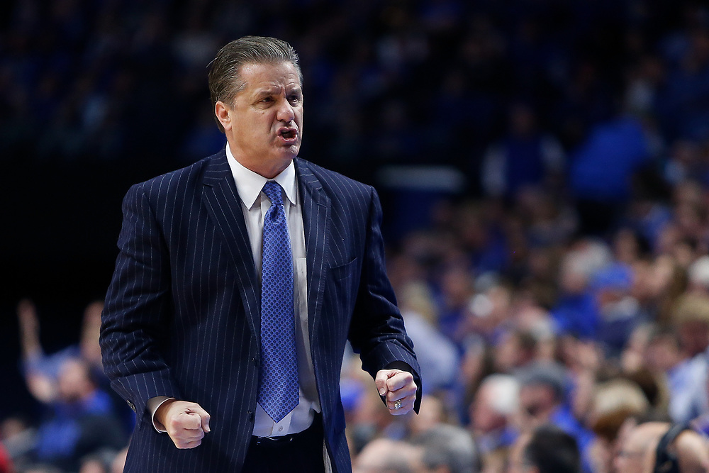 Kentucky Wildcats head coach John Calipari reacts against the Kansas Jayhawks on Saturday January 28, 2017 at Rupp Arena in Lexington, Ky. Photo by Michael Reaves | Staff