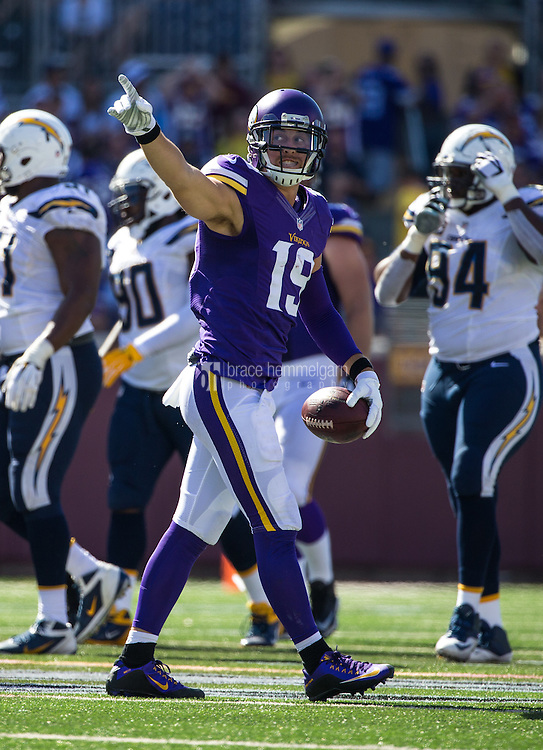 Sep 27, 2015; Minneapolis, MN, USA; Minnesota Vikings wide receiver Adam Thielen (19) against the San Diego Chargers at TCF Bank Stadium. The Vikings defeated the Chargers 31-14. Mandatory Credit: Brace Hemmelgarn-USA TODAY Sports