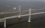Aerial view of the Chesapeake Bay Bridge with NOAA Vessel little hales