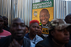 May 12, 2019 - Johannesburg, South Africa - A South African ruling party African National Congress (ANC) supporters stand next to a South African President and President of the ruling party African National Congress (ANC) Cyril Ramaphosa during an ANC election victory rally on May 12, 2019, in central Johannesburg. (Credit Image: © Michele Spatari/NurPhoto via ZUMA Press)