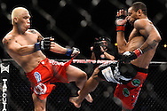 "ATLANTA, GEORGIA, SEPTEMBER 6, 2008: Ryo Chonan (left) blocks a kick from Roan Carneiro during ""UFC 88: Breakthrough"" inside Philips Arena in Atlanta, Georgia on September 6, 2008"