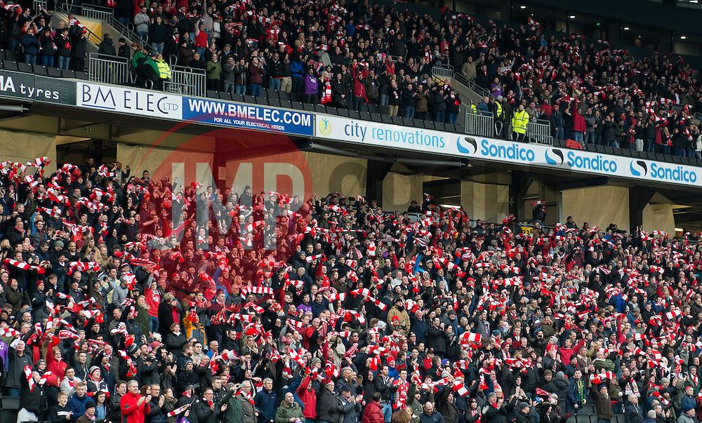 Bristol City fans wave scarves  - Photo mandatory by-line: Joe Meredith/JMP - Mobile: 07966 386802 - 07/02/2015 - SPORT - Football - Milton Keynes - Stadium MK - MK Dons v Bristol City - Sky Bet League One