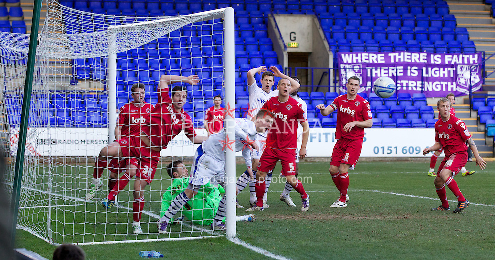 BIRKENHEAD, ENGLAND - Saturday, February 18, 2012: Tranmere Rovers' Ryan Brunt misses a big chance during the Football League One match against Charlton Athletic at Prenton Park. (Pic by Vegard Grott/Propaganda)