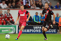 28.09.2011, BayArena, Leverkusen, GER, UEFA CL, Gruppe E, Bayer 04 Leverkusen (GER) vs KRC Genk (BEL), im Bild.Jelle Vossen (Genk #9) (L) gegen Michal Kadlec (Leverkusen #24) (R)..// during the UEFA CL, group E, Bayer Leverkusen vs KRC Genk  on 2011/09/28, at BayArena, Leverkusen, Germany. EXPA Pictures © 2011, PhotoCredit: EXPA/ nph/  Mueller *** Local Caption ***       ****** out of GER / CRO  / BEL ******