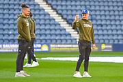 Ezgjan Alioski of Leeds United (10) and Kalvin Phillips of Leeds United (23) arrive at the ground during the EFL Sky Bet Championship match between Preston North End and Leeds United at Deepdale, Preston, England on 9 April 2019.