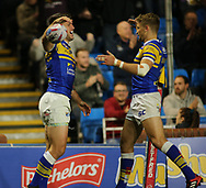 Tom Briscoe (L) of Leeds Rhinos celebrates scoring the 1st try of the game with team mate Jimmy Keinhorst (R) against Salford Red Devils during the Super 8s Qualifiers match at Emerald Headingley Stadium, Leeds<br /> Picture by Stephen Gaunt/Focus Images Ltd +447904 833202<br /> 14/09/2018