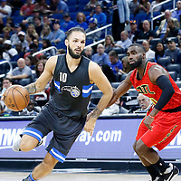 25 February 2017: Orlando Magic guard Evan Fournier (10) drives past Atlanta Hawks guard Tim Hardaway Jr. (10) during the Orlando Magic 105-86 victory over the Atlanta Hawks, at the Amway Center, Orlando, Florida, USA.