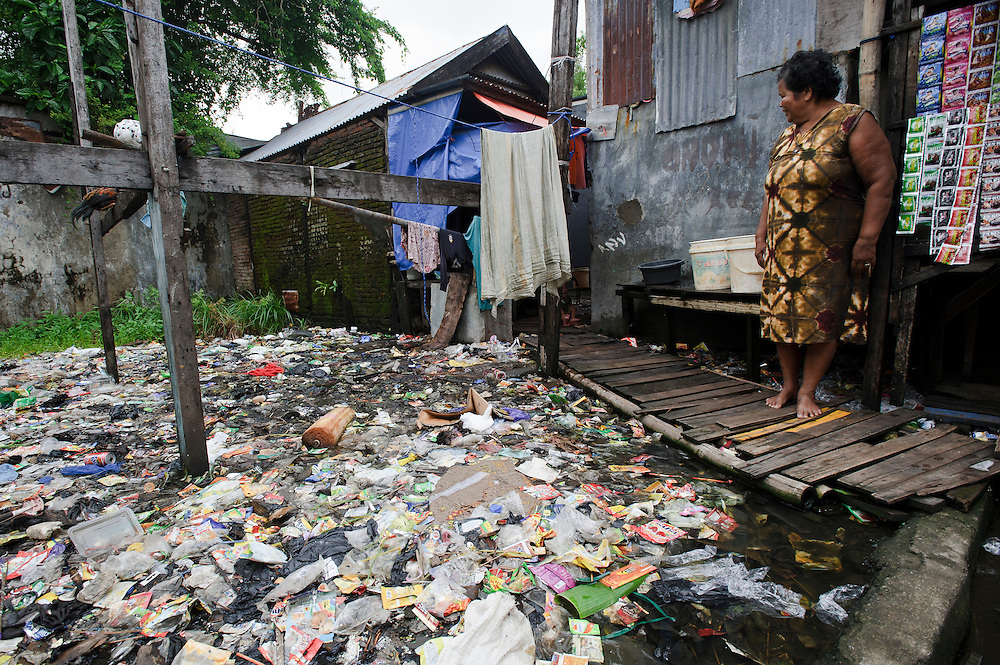 Plastic waste outside a house in Tallo, Makassar, sulawesi, Indonesia.