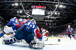Robert Kristan, goalkeeper of Slovenia with a save during ice-hockey match between Slovenia and Belarus of Group G in Relegation Round of IIHF 2011 World Championship Slovakia, on May 8, 2011 in Orange Arena, Bratislava, Slovakia. (Photo by Matic Klansek Velej / Sportida)