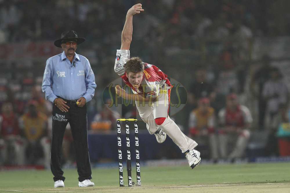 James Faulkner of the Kings XI Punjab sends down a delivery during match 4 of the the Indian Premier League ( IPL) 2012  between The Rajasthan Royals and the Kings X1 Punjab held at the Sawai Mansingh Stadium in Jaipur on the 6th April 2012..Photo by Shaun Roy/IPL/SPORTZPICS
