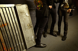 The post-punk band The Killers perform at the Hammerstein Ballroom at Manhattan Center Studios in New York, N.Y. on Oct. 24, 2008. Second from right and right, singer Brandon Flowers and Guitarist Dave Keuning do an MTV interview backstage.