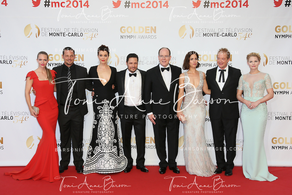 MONTE-CARLO, MONACO - JUNE 11: (L-R) Andrea Joy Cook aka A.J. Cook, Justin Chambers, Young Bellamy, Nick Wechler, Prince Albert II of Monaco, Ana Ortiz, Jeff Perry and Jennifer Morrison attend the Closing Ceremony and Golden Nymph Awards of the 54th Monte Carlo TV Festival on June 11, 2014 in Monte-Carlo, Monaco.  (Photo by Tony Barson/FilmMagic)