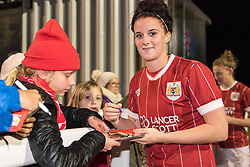 Jasmine Matthews of Bristol City Women signs an autograph - Mandatory by-line: Paul Knight/JMP - 02/12/2017 - FOOTBALL - Stoke Gifford Stadium - Bristol, England - Bristol City Women v Brighton and Hove Albion Ladies - Continental Cup Group 2 South