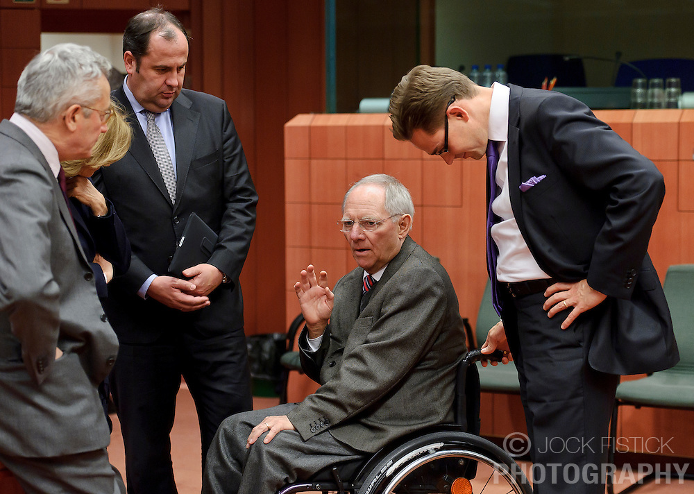 Wolfgang Schaeuble, Germany's finance minister, center, speaks with (from left) Giulio Tremonti, Italy's finance minister, Elena Salgado, Spain's finance minister, Josef Proell, Austria's finance minister, and Jyrki Katainen, Finland's finance minister, far right, during a meeting of the Eurogroup finance ministers at the EU Council headquarters in Brussels, Monday, Dec. 6, 2010. (Photo © Jock Fistick)