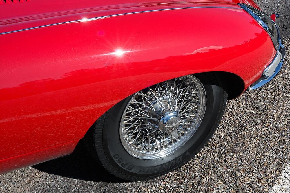 Wire wheels on the XK-E. 2012 Santa Fe Concorso High Mountain Tour.