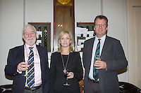 Theo Phelan Race Officer Wicklow Sailing Club, Patricia Greene Volvo Car Ireland, Harry Hermon CEO of the ISA  at the launch of 18th Volvo 2016 Round Ireland Yacht Race which was held in the Royal Irish Yacht Club.<br />