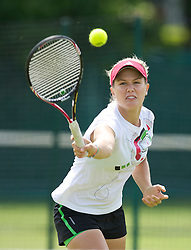 LIVERPOOL, ENGLAND - Thursday, June 16, 2011: Eugenie Bouchard (CAN) warms-up before day one of the Liverpool International Tennis Tournament at Calderstones Park. (Pic by David Rawcliffe/Propaganda)
