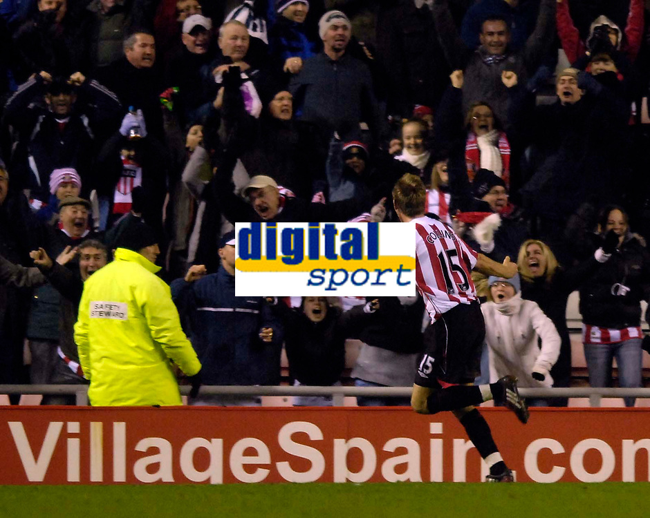 Photo: Jed Wee/Sportsbeat Images.<br /> Sunderland v Aston Villa. The FA Barclays Premiership. 15/12/2007.<br /> <br /> Sunderland's Danny Collins celebrates after scoring in the last minute of the game only to have the goal controversially disallowed by referee Steve Bennett.