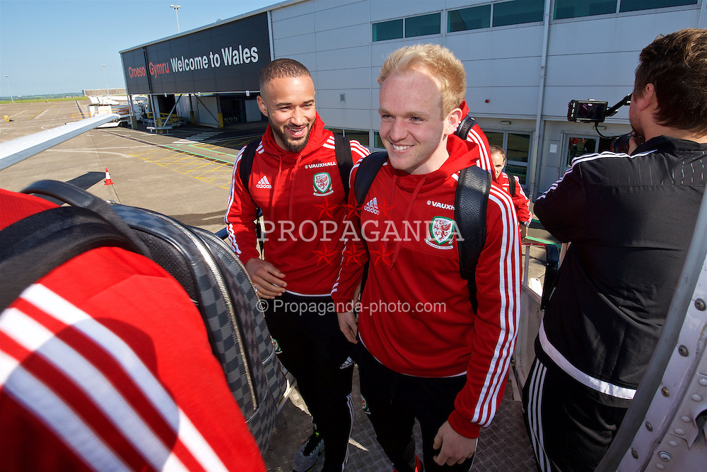 +++ MINIMUM USE FEE &pound;200 or purchase our Unlimited Tournament Pass for &pound;3000 +++<br /> CARDIFF, WALES - Tuesday, May 24, 2016: Wales' Ashley 'Jazz' Richards and Jordan Williams board the team plane at Cardiff Airport as they head to Portugal for a pre-UEFA Euro 2016 training camp. (Pic by David Rawcliffe/Propaganda)