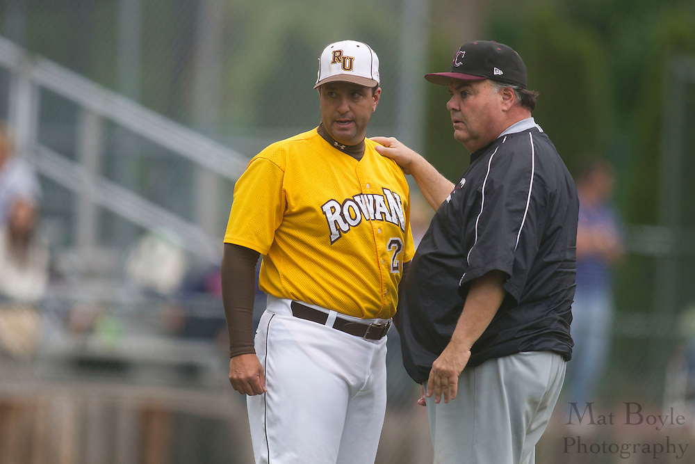 Rowan University Head Baseball Coach Juan Ranero;  Ramapo College Head Coach Rich Martin; Rowan University Baseball hosts Ramapo College in the 2nd round of the NJAC tournament on Thursday May 3, 2012 in Glassboro, NJ. (photo / Mat Boyle)