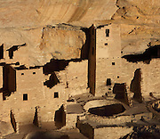 Part of the Cliff Palace, 13th century, a huge multi-storey Native American Puebloan dwelling, housing 125 people, with 23 kivas and 150 rooms, in Mesa Verde National Park, Montezuma County, Colorado, USA. The Cliff Palace is the largest cliff house in the park, possibly used for social and ceremonial purposes and is thought to be part of a larger community encompassing 60 pueblos and 600 people. It is made from sandstone blocks, mortar and wooden beams and was originally painted with earthen plasters. Mesa Verde is the largest archaeological site in America, with Native Americans inhabiting the area from 7500 BC to 13th century AD. It is listed as a UNESCO World Heritage Site. Picture by Manuel Cohen