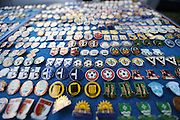 Pin badge display before the Sky Bet League 2 match between AFC Wimbledon and Portsmouth at the Cherry Red Records Stadium, Kingston, England on 26 April 2016.