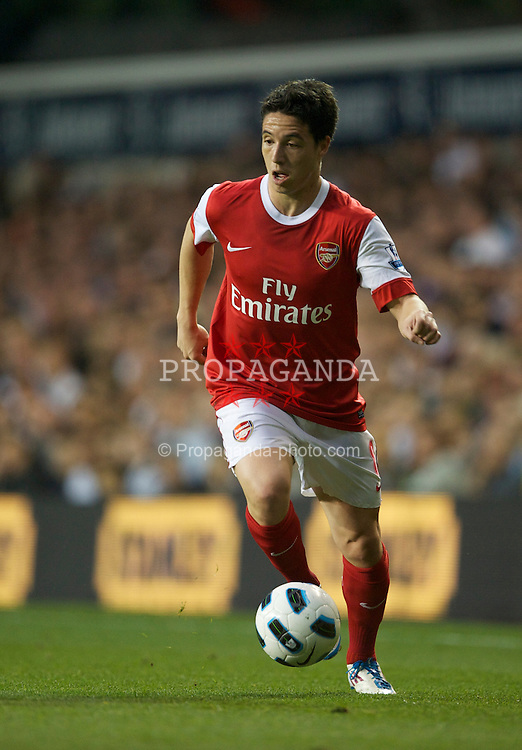 LONDON, ENGLAND - Wednesday, April 20, 2011: Arsenal's Samir Nasri in action against Tottenham Hotspur during the Premiership match at White Hart Lane. (Photo by David Rawcliffe/Propaganda)