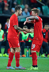 ADELAIDE, AUSTRALIA - Monday, July 20, 2015: Liverpool's Danny Ings celebrates scoring the first goal against Adelaide United with team-mates during a preseason friendly match at the Adelaide Oval on day eight of the club's preseason tour. (Pic by David Rawcliffe/Propaganda)