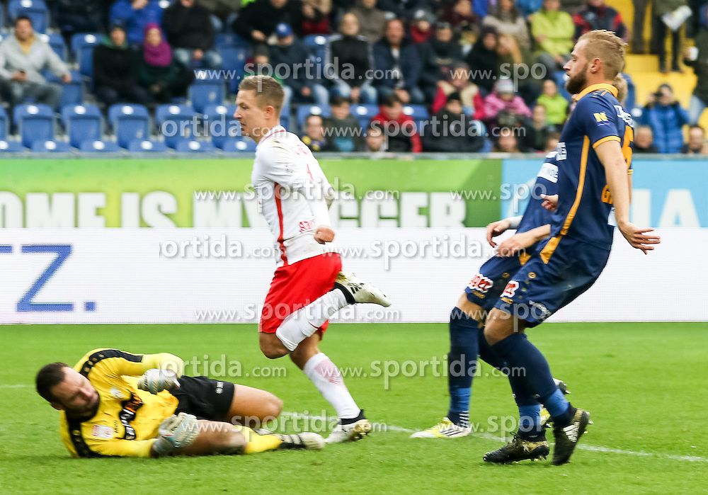 23.10.2016, NV Arena, St. Poelten, AUT, 1. FBL, SKN St. Poelten vs FC Red Bull Salzburg, 12. Runde, im Bild Tor zum 0:3 durch Marc Rzatkowski (FC Red Bull Salzburg), Christopher Riegler (SKN St. Poelten) // during the Austrian Football Bundesliga 12th Round Match between SKN St. Poelten and FC Red Bull Salzburg at the NV Arena, St. Poelten, Austria on 2016/10/23. EXPA Pictures © 2016, PhotoCredit: EXPA/ Alexander Forst