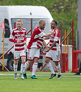 Hamilton&rsquo;s Giannis Skondras is congratulated by Dougie Imrie after scoring the second goal - Hamilton Academical v Dundee in the Ladbrokes Scottish Premiership at the SuperSeal Stadium, Hamilton, Photo: David Young<br /> <br />  - &copy; David Young - www.davidyoungphoto.co.uk - email: davidyoungphoto@gmail.com