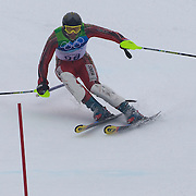 Winter Olympics, Vancouver, 2010.Samir Azzimani, Morocco,  in action during the Alpine Skiing, Men's Slalom at Whistler Creekside, Whistler, during the Vancouver Winter Olympics. 27th February 2010. Photo Tim Clayton