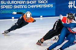 Short tracker Itzhak de Laat in action on the 1500 meter semifinals during ISU European Short Track Speed Skating Championships 2020 on January 25, 2020 in Fonix Hall, Debrecen, Hungary