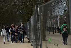 © Licensed to London News Pictures. 18/04/2013. London, UK. Barriers are placed at The Mall, the location for the London Marathon finish line, on April 18, 2013 in London. The London Marathon will be held on Sunday April 21. Photo credit : Peter Kollanyi/LNP