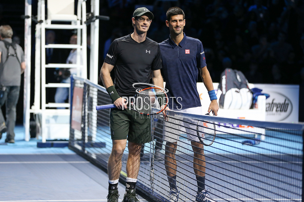 Andy Murray (Great Britain) and Novak Djokovic (Serbia) line up during the final of the Barclays ATP World Tour Finals at the O2 Arena, London, United Kingdom on 20 November 2016. Photo by Phil Duncan.