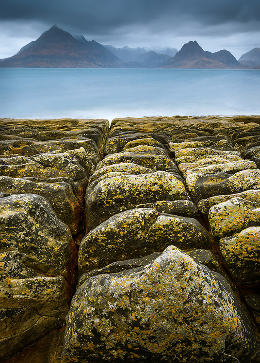 Elgol has so many classic compositions vying for your eye so I forced myself to wander first, calm my mind. I was delighted by this find, some beautiful latticed rock sloping down to the sea.