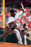 17 April 2010:New York Mets starting pitcher Johan Santana (57) releases a pitch towards a Cardinals batter during Saturday's game at Busch Stadium in St. Louis, Missouri. The Game would go 20 innings, with the Mets winning 2-1..