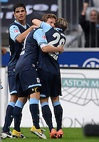 Fussball 2. Bundesliga:  Saison   2012/2013,    4. Spieltag  TSV 1860 Muenchen - MSV Duisburg    31.08.2012 Jubel nach dem Tor zum 1:0, Benjamin Lauth und Daniel Halfar  (v. li., 1860 Muenchen)