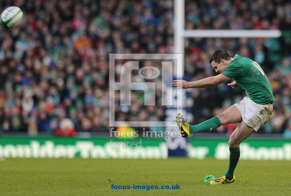 Jonny Sexton kicks a penalty to draw the game during the RBS 6 Nations match at the Aviva Stadium, Dublin<br /> Picture by Lorraine O'Sullivan/Focus Images Ltd +353 872341584<br /> 07/02/2016