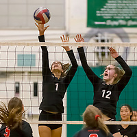 Homestead Girls Volleyball #1 Indy De Smet and #12 Stella Waldow defend the net vs Monta Vista-Danville in the CIF Division II Northern regional tournament at Homestead High School, Cupertino CA on 11/6/18. (Photograph by Bill Gerth)(Homestead 3 Monta Vista-Danville 1)