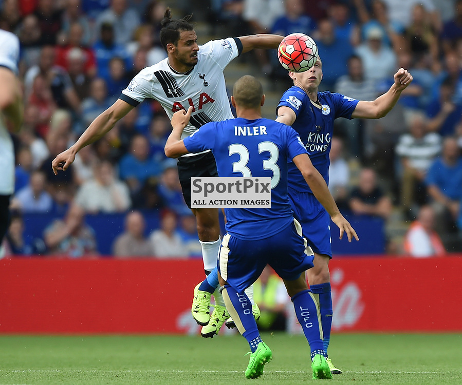 Nacer Chadli is first to the ball ahead of Richie de Laet and debutant Gokham Inlre (c) Simon Kimber | SportPix.org.uk