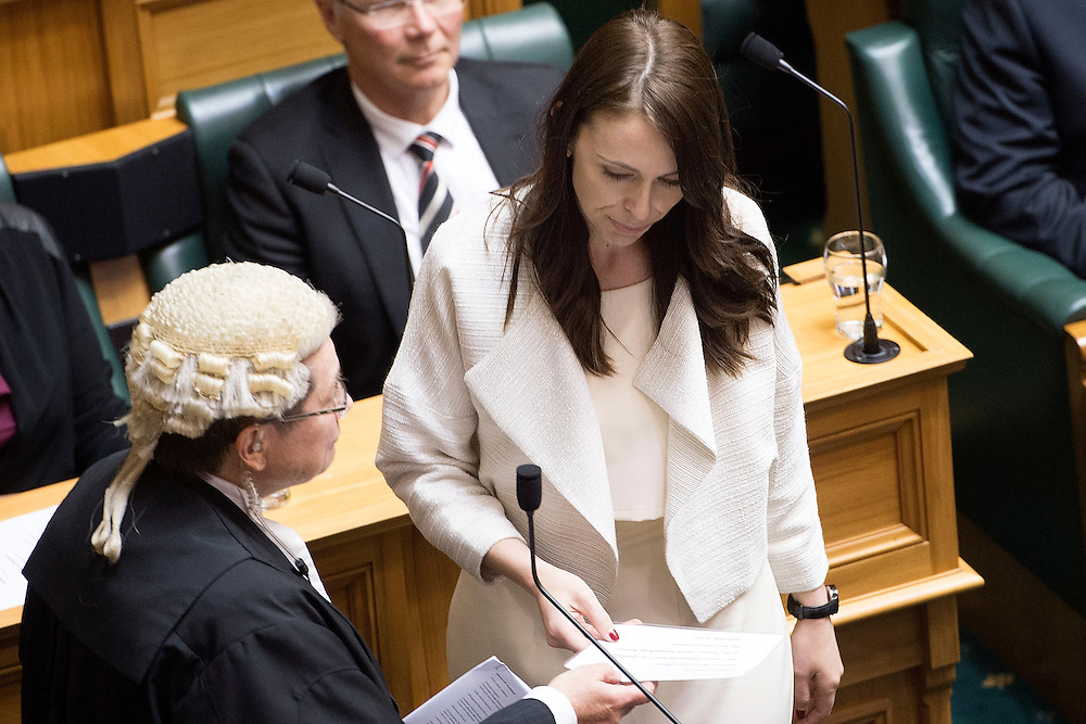 Labour's Jacinda Ardern takes the oath in the swearing in ceremony in the Debating Chamber, Parliament, Wellington, New Zealand, Monday, October 20, 2014. Credit: SNPA / Marty Melville