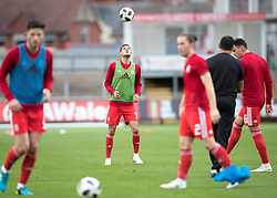 NEWPORT, WALES - Tuesday, October 16, 2018: Wales' Isaac Christie Davies warms up ahead of the UEFA Under-21 Championship Italy 2019 Qualifying Group B match between Wales and Switzerland at Rodney Parade. (Pic by Laura Malkin/Propaganda)